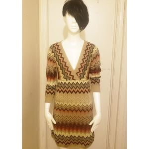 Say What? Chevron Print Sweater Dress
